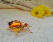Free Shipping Etsy, Black Friday Etsy, Cyber Monday Etsy - Vintage Amber Brooch, Spider Ant Insect Pin Brooch, Baltic Amber Yellow Brooch