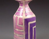 Small square handbuilt vase with purple stripes