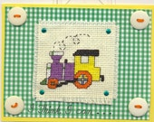Unique Handcrafted Crossstitched Childs Greeting Card with Train Engine - SALE