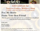 Gift Certifcate for Nouveau Century Millinery