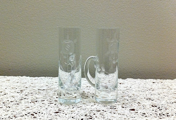 Set of Vintage Etched Cordial Glasses with Handle