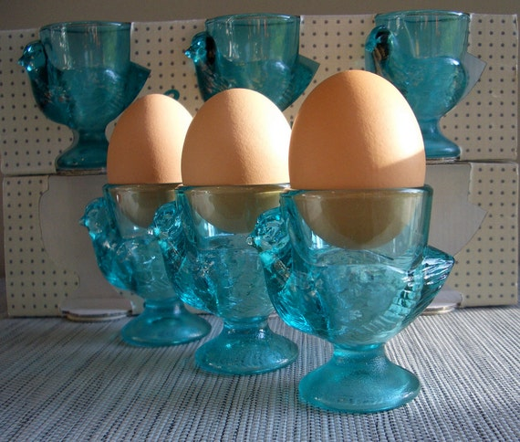 Luminarc France Green Blue Glass Egg Cups (set of 6)