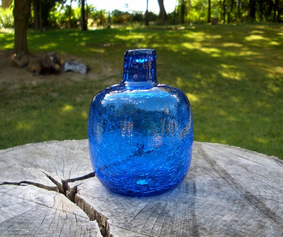 Blenko Cobalt Blue Crackle Vase By Modernismus On Etsy