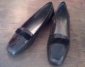 Enzo Angiolini Black Enamel Loafer With Bow (Size 8)