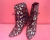 80-90s Crazy Gold Pattern Black Suede Booty (Size 5 1/2)