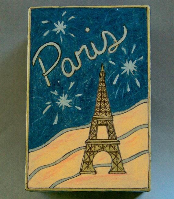 Paris Decorative Box - Hand Drawn - One of a Kind - Keepsake Box - Memory Box