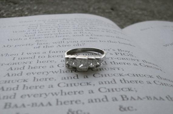 SALE  Baguette cut cubic zirconia ring in sterling silver