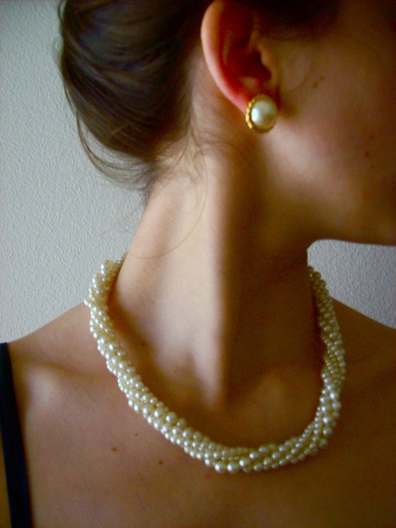 SALE,  Vintage Costume Twisted Pearl Necklace and Earring Set, 5 strand