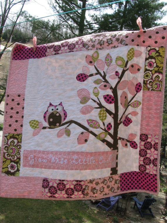 Owl baby girl quilt of flannel & cotton in pink, chocolate brown, sage, white with tree