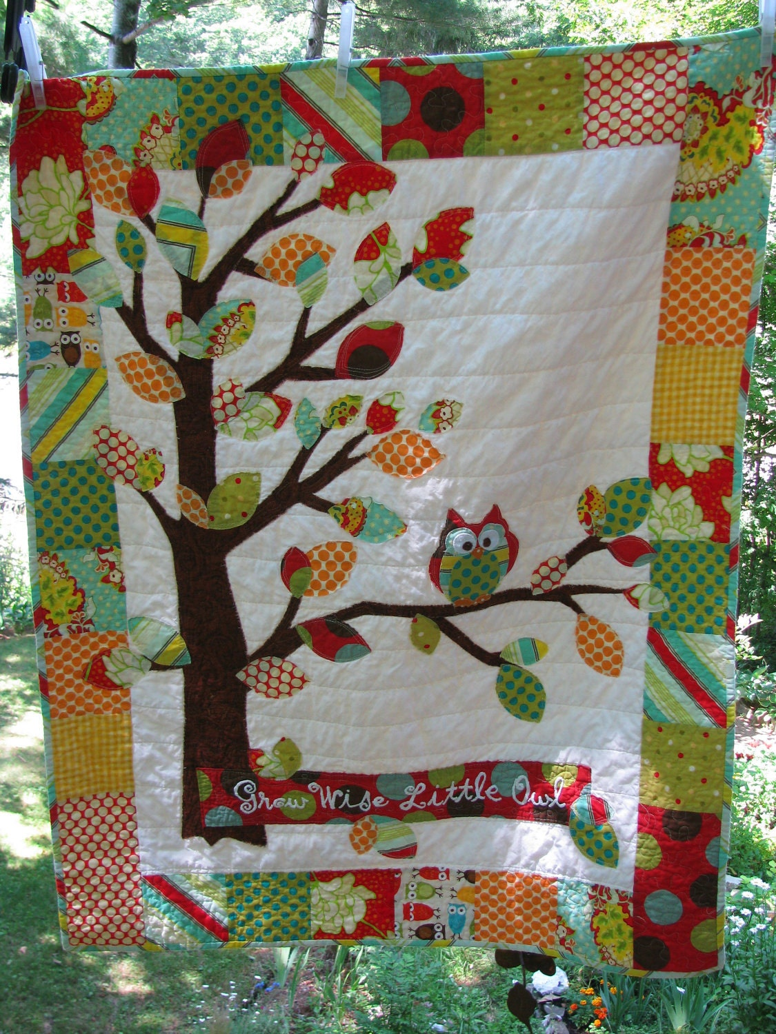 Owl Baby Quilt Of Flannel Cotton In Red Blue Green Yellow