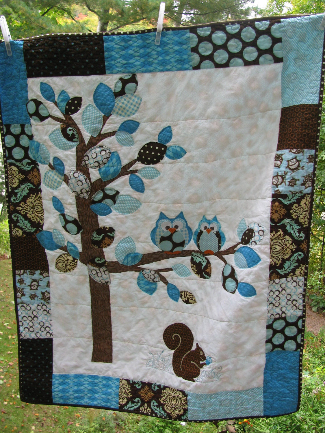 Baby Boy Woodland Double Owl Quilt Of Flannel Amp By Barabooboo