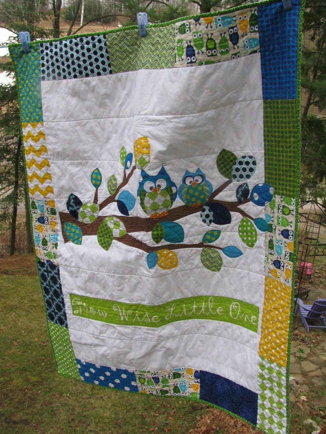 Applique Owl Baby Quilt Of Flannel Amp Cotton In Turquoise
