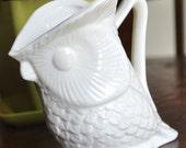 Vintage small white owl vase
