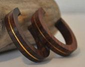 Vintage wood and gold hoop earrings