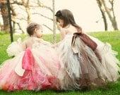 Fall Flower girl tutu dress, Chocolate Brown Champagne Tutu Dress/Gown. Custom tutu dress