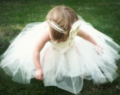 Flowergirl Tutu Dress, Ivory tutu dress, Complete Outfit with top, skirt, sash, and vintage glam headband.