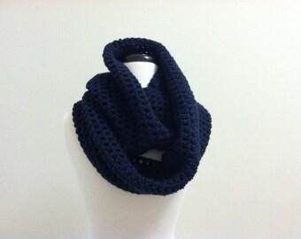 Unisex Crochet Circle Infinity Scarf - NAVY