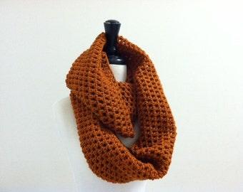 Crochet Circle Infinity Unisex Scarf - RUST