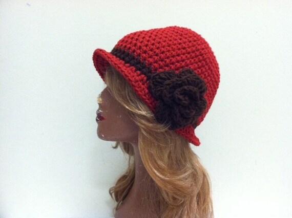 SALE Crochet Cloche Flapper Hat - CLARET/BROWN