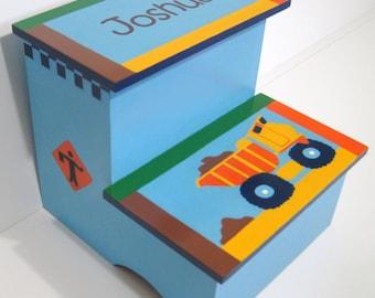 Wooden Step Stool -  Boy Step Stool - Bedroom Stool - Stool - Dump Truck Stool - Construction  - Bathroom Stepstool - Kids Decor