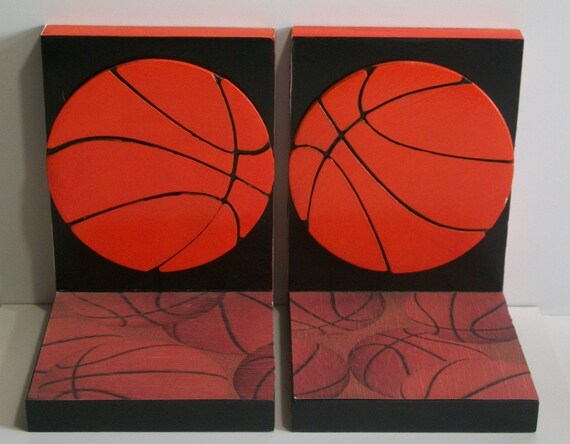 Basketball Bookends-Boys Orange and Black-Customizations Welcomed
