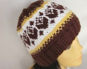 Hand-knitted Chocolate Unisex Sport Hat with Beautiful Norwegian Ornament