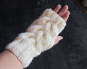 Hand-knitted Fingerless Gloves Mittens Arm Warmers with Beautiful Ornament