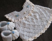 Handmade Baby Crochet Dress and Booties set (0-6 month)