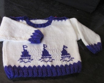 Hand Knitted fisherman knit children's Pullover -Sweater size 6-12 months