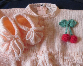 Knitted Baby Set Overall and Booties  with Cherry decoration