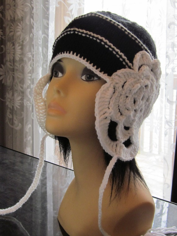 Hand-knitted Black and White Hat with Beautiful Crocheted Flowers