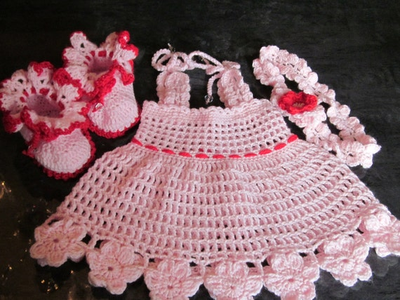 Handmade Baby Crochet Dress, Head Band and Booties set (0-6 month)