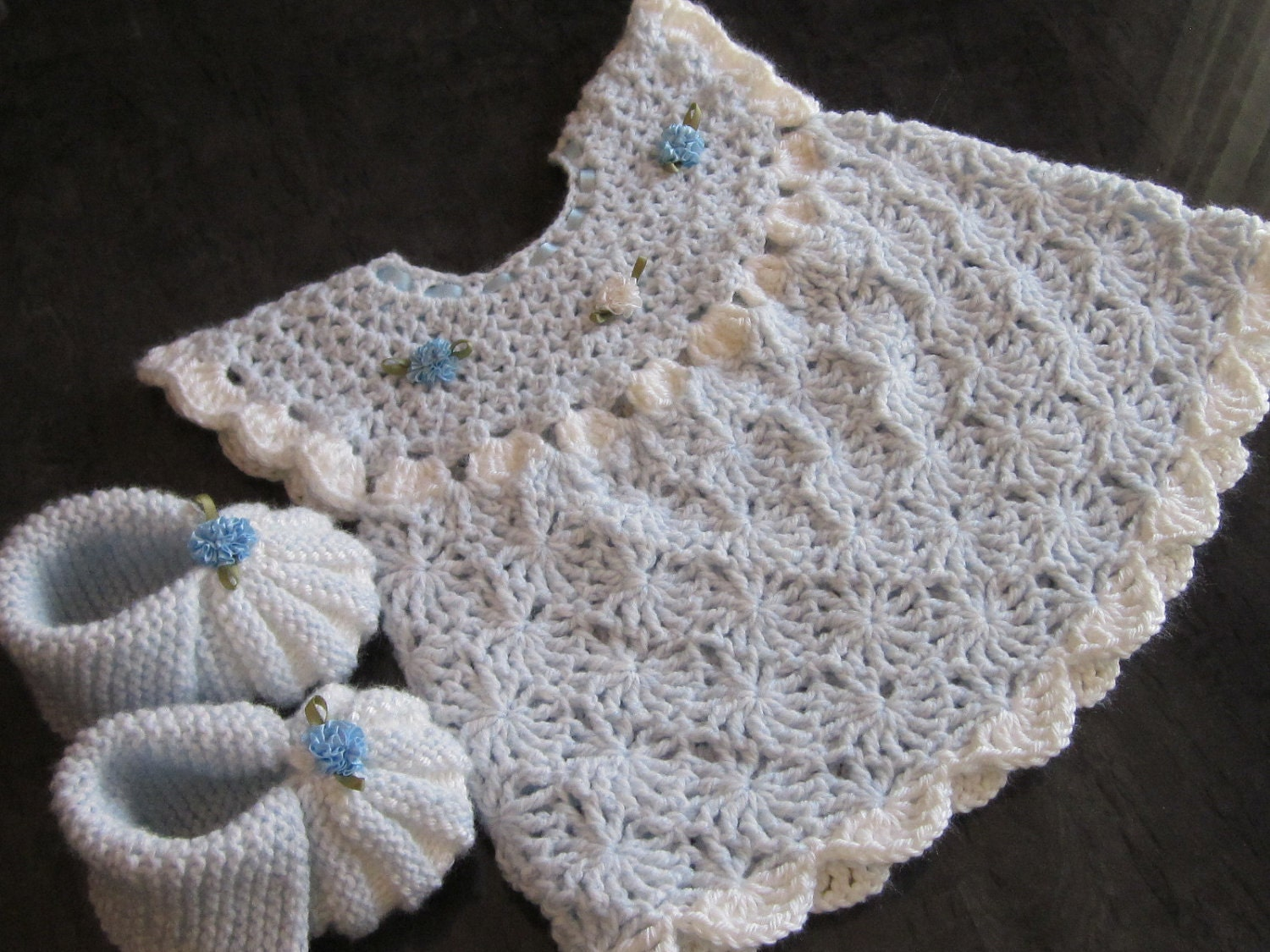 Crochet Patterns For Baby Stuffed Animals : Handmade Baby Crochet Dress and Booties set 0-6 month