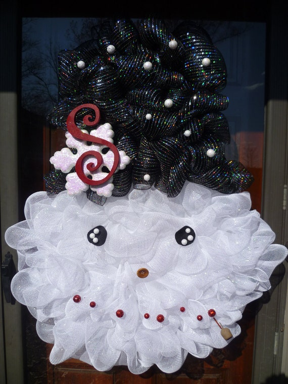 Items Similar To Snowman Wreath Made With Deco Mesh Black
