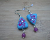 Triangle Teal Floral Earrings