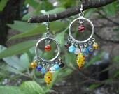 Multi Color Glass Bead Earrings
