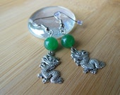 Jade Stone with Dragon Earrings