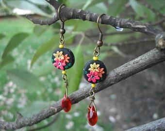Multi Color Flower Earrings