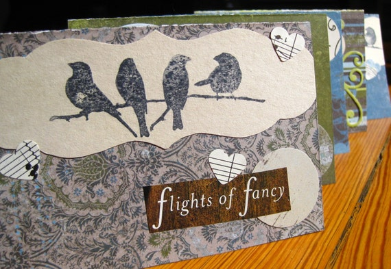 flights of fancy - set of 5 stationery cards