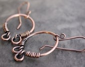 Wire Wrapped Copper Earrings  --  I'm Bossy -- Fall Fashion