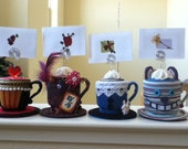 Tim Burton's Alice in Wonderland fancy place card holder, photo/message holder - set of 4