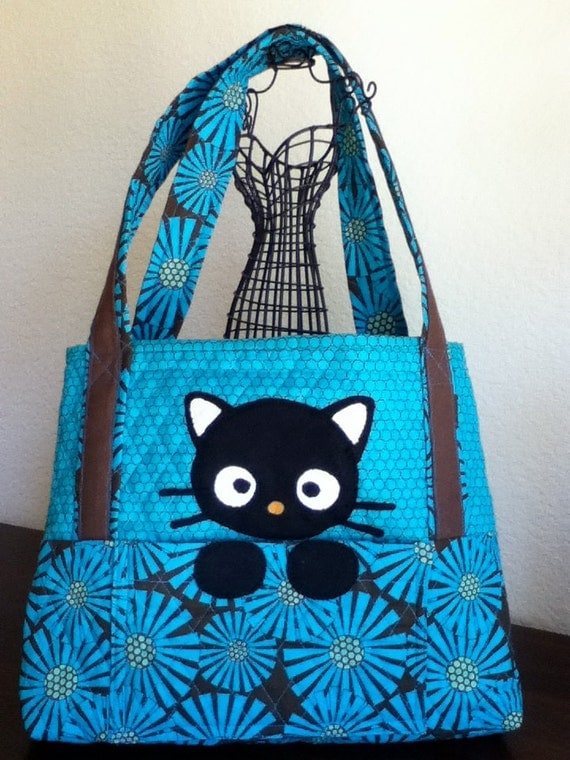 Black Kitty Cat Quilted Bag