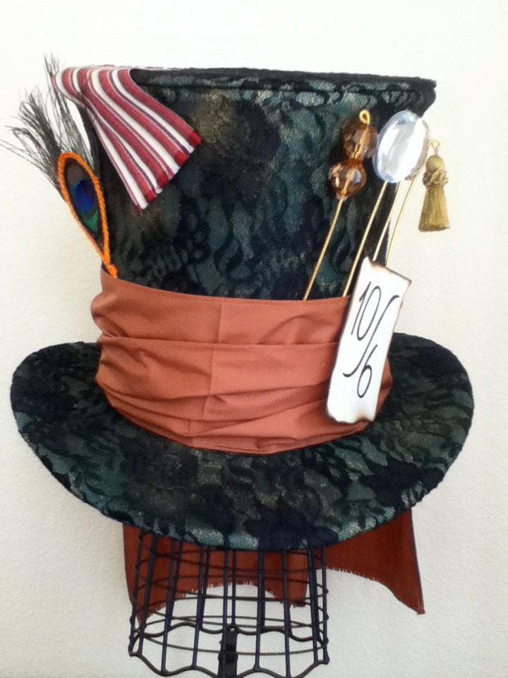 Tim burton s mad hatter top hat by wonderfulwonderworld on etsy
