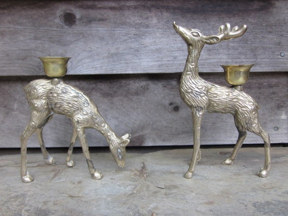 Brass Deer Candle Holders-Set Of Two-Buck-Doe-Fawn-Holiday