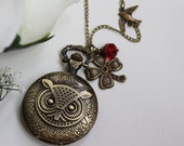 The Antique OWL Pocket Watch Necklace with Swallow and Four-leaf Clover Charm