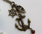 Vintage Antique Anchor Charm Necklace with Boat and Wheel