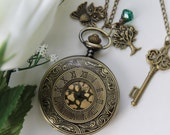 Owl on a Tree - Steampunk Style Roman Numerals Pocket Watch Necklace With Key Charm
