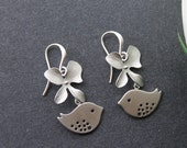 Orchid Flowers with Birds Earrings