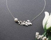 Orchid Flower with Peal Necklace, Sterling Silver Chain, Wedding or Daily Jewelry or Gift