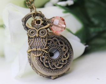 Vintage Filigree Flower Pocket Watch Necklace with Owl Charm